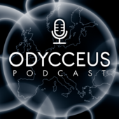 ODYCCEUS logo with stylized microphone, map of Europe in background